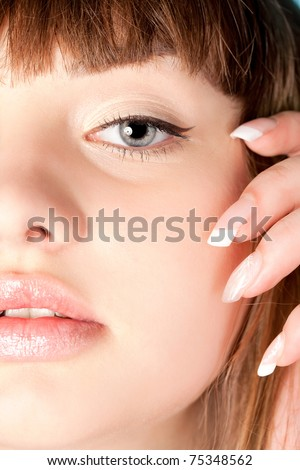 close up portrait of young beauty woman