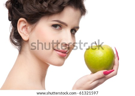 Close up portrait of young beauty woman with green apple. Perfect skin! Isolated on white. - stock photo