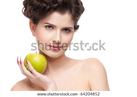 Close up portrait of young beauty woman with green apple. Perfect skin! Isolated on white.