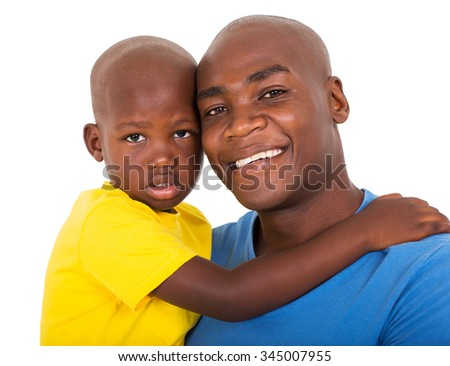 close up portrait of young black man with his son