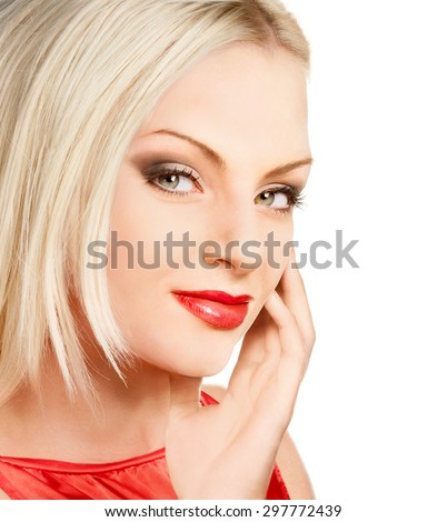 Close-up portrait of young blonde beauty with red lips - stock photo