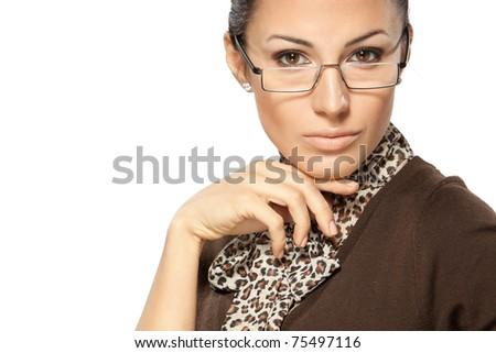 Close-up portrait of young business woman in eye-glasses side isolated on white - stock photo