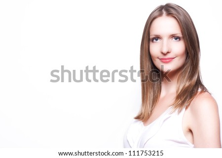 Close up portrait of young business woman on a white background - stock photo