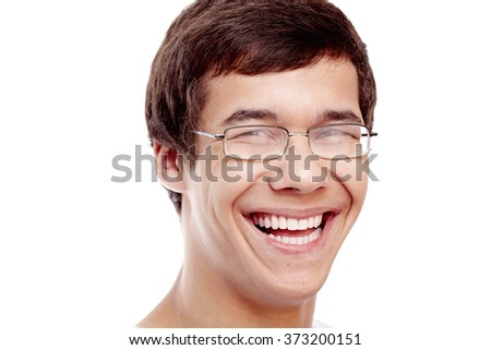 Close up portrait of young cheerful hispanic man wearing glasses smiling perfect healthy toothy smile isolated on white background - dentistry or ophthalmology concept - stock photo