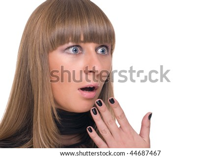 Close up portrait of young choked business woman in black dress