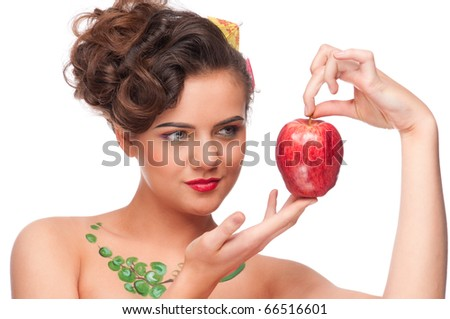 Close up portrait of young emotional beauty woman with red apple. Perfect skin! Isolated on white.
