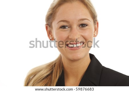 Close up portrait of young girl in business suit - stock photo