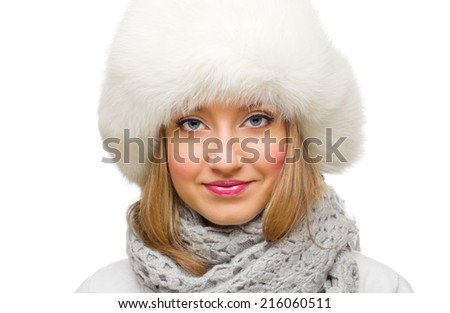 Close up portrait of young girl isolated - stock photo