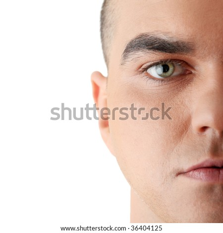 Close-up portrait of young good looking male model - stock photo