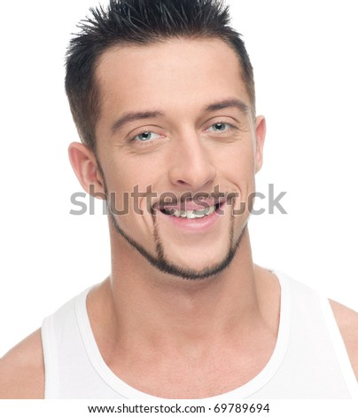 Close up portrait of young handsome man face with perfect skin. Isolated on white - stock photo