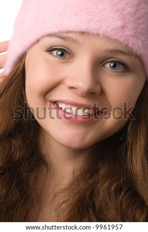close-up portrait of young happy smiling woman - stock photo