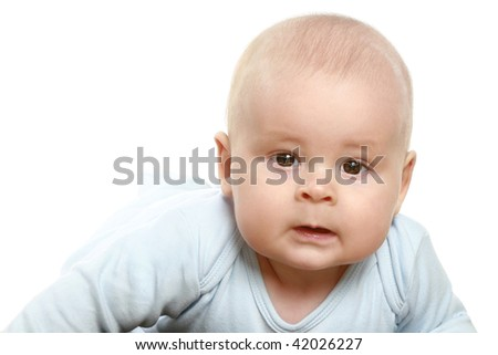 Close-up portrait of young little baby boy isolated on white