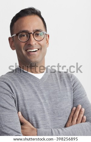 Close up portrait of young professional man on isolated white background. Election voter.
