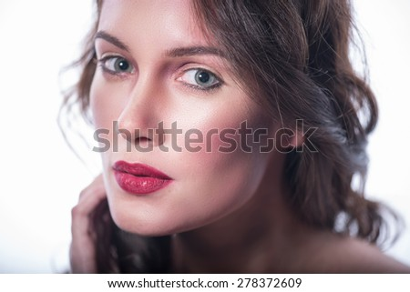 Close-up portrait of young sensual girls. expression of tenderness and mystery - stock photo