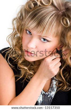 Close-up portrait of  young sexy blond woman - stock photo