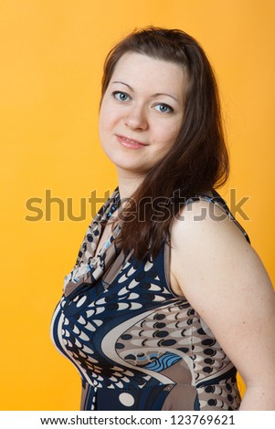 close-up portrait of young woman - stock photo