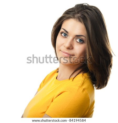 Close-up portrait of young woman casual portrait in positive view, Isolated on white. - stock photo