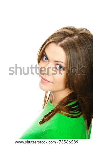 Close-up portrait of young woman, green wear dressed and isolated over white background. - stock photo