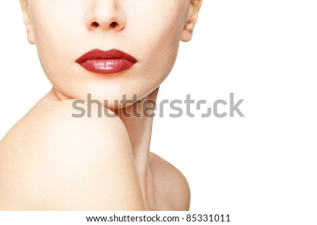 Close-up portrait of young woman with beautiful red lips - stock photo