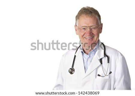 Close up portrait shot of a confidently smiling senior doctor with stethoscope isolated on white. - stock photo