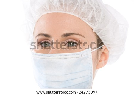 close up portrait with operatging mask - stock photo