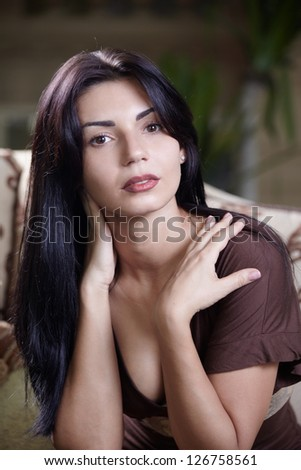 Close up portrait young attractive woman - stock photo