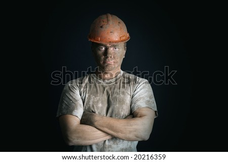 close-up portraitm worker man mine - stock photo