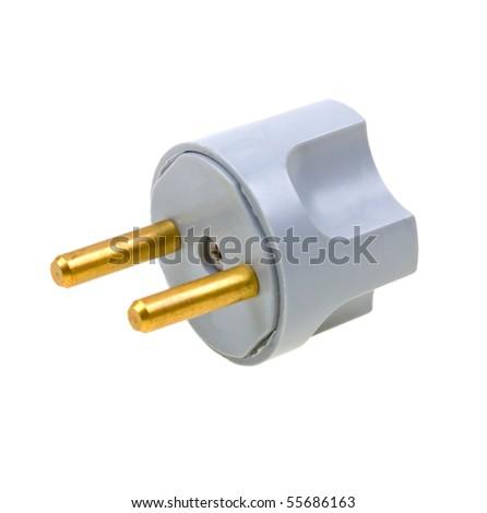 Close-up Power plug isolated on white background - stock photo