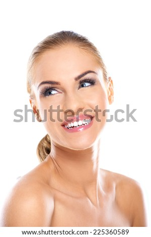 Close up Pretty Smiling Face of Bare Young Woman with Blond Hair Tied at the Back. Isolated on White Background. - stock photo