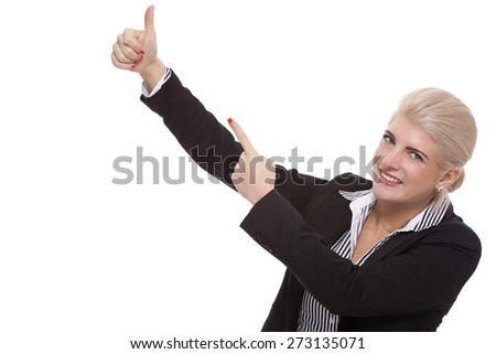 Close up Pretty Smiling Young Businesswoman Pointing Up with her Two Hands While Looking at the Camera. Isolated on White Background.