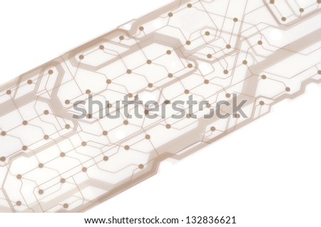 Close up Printed Circuit isolated on white background - stock photo