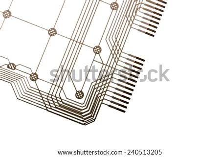 Close up Printed Circuit isolated on white background 2 - stock photo