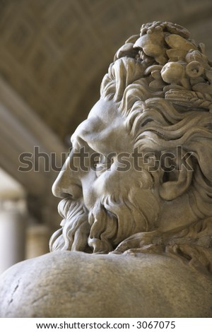 Close-up profile of the River Tiber sculpture in the Vatican Museum, Rome, Italy. - stock photo