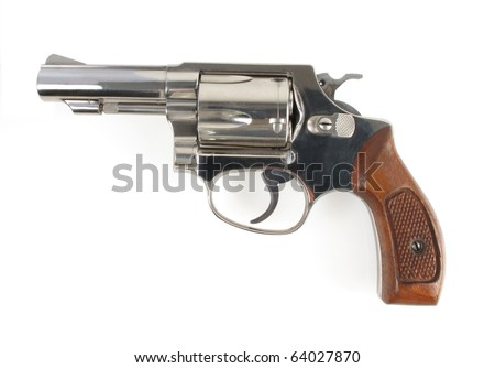Close up profile view of a stainless steel hand gun on white. See all firearm-related photos from this collection at: http://www.shutterstock.com/sets/22007-guns.html?rid=70583 - stock photo