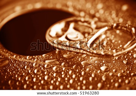 close-up pull tab of tin with condensation - stock photo