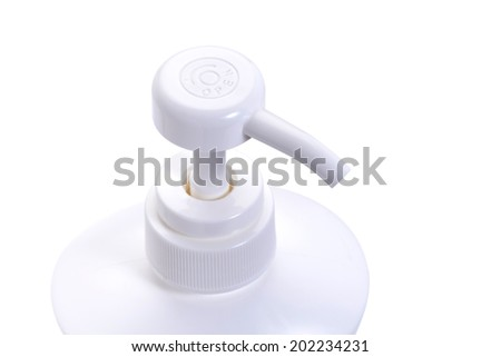Close up Pump White tube bottle isolated on white background