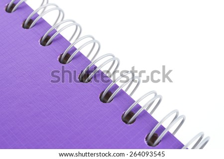 Close up Purple note book isolated on white background