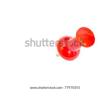 Close up Push pin on white - stock photo