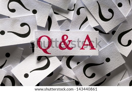 Close up Questions & Answers , too many question marks - stock photo