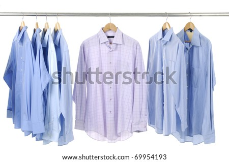 Close-up rack shirts - stock photo