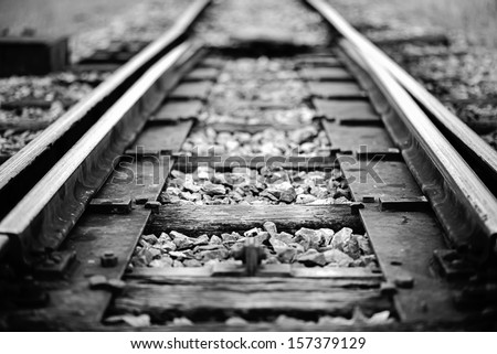Close up railway tracks - stock photo
