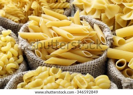 close up Raw italian pasta  - stock photo