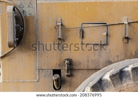 close up rear side of bulldozer - stock photo