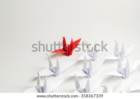 Close up red bird leading among white, Leadership concept - stock photo
