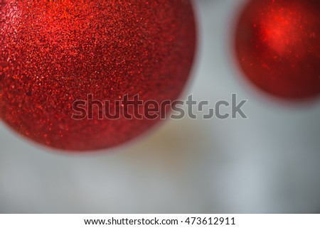 Close up red Christmas balls