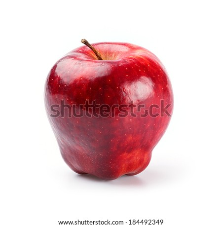 Close up red delicious apple isolated on white - deep focus image - stock photo