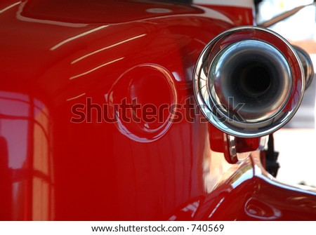 Close up red fire engine siren