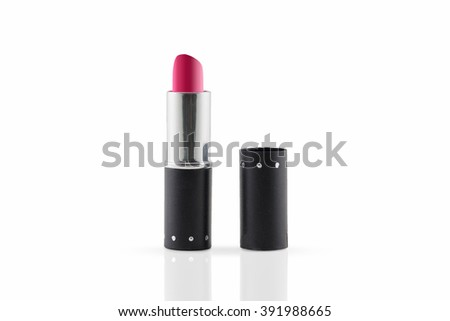 Close-up red lipstick isolated on white background.