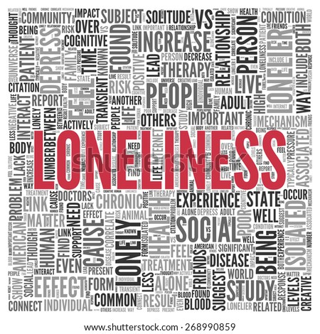 Close up Red LONELINESS Text at the Center of Word Tag Cloud on White Background. - stock photo
