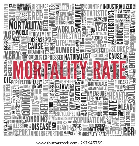 Close up Red MORALITY RATE Text at the Center of Word Tag Cloud on White Background. - stock photo